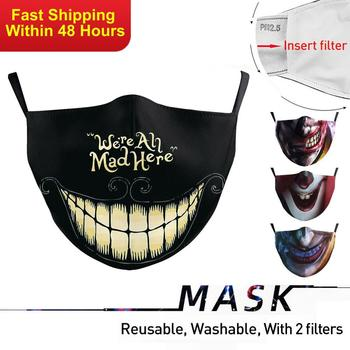 Zawaland Unisex Funny Print Mouth Cover Protective PM2.5 Face Mask Washable Adjustable Polyester Fabric Mouth Mask With 2 Filter