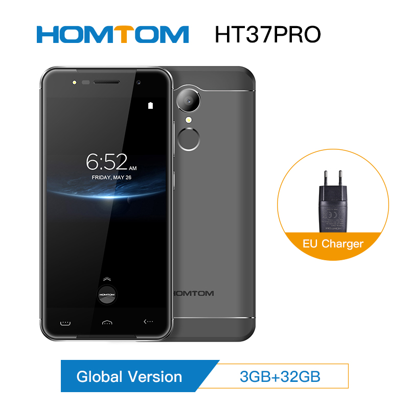 Original HOMTOM HT37 Pro 3+32GB <font><b>Smartphone</b></font> 4G MT6737 5.0 Inch HD <font><b>Android</b></font> <font><b>7.0</b></font> Cell Phone13MP 3000mAh Fingerprint ID Mobile Phone image