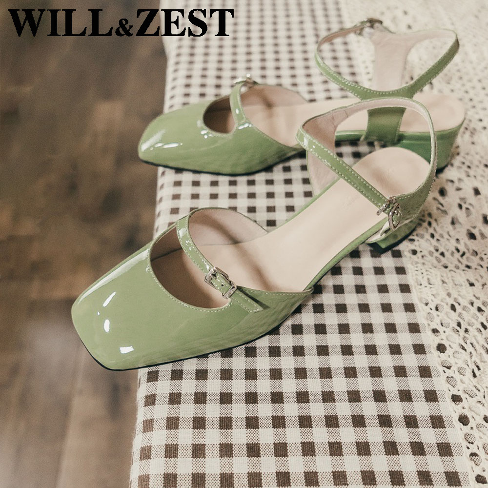 Will&Zest Maryjanes Square Closed Toe Shoes Handmade Pumps 2020 Women Black Sexy Bling Sling back Footwear Mint Green Sandals