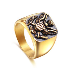 Luxury American Militar Badge Stainless Steel Eagle Finger Rings Jewelry Rings Anniversary Engagement Party Wedding Gifts luxury death punk titanium steel finger rings skeleton jewelry skull rings anniversary engagement party wedding gifts for men