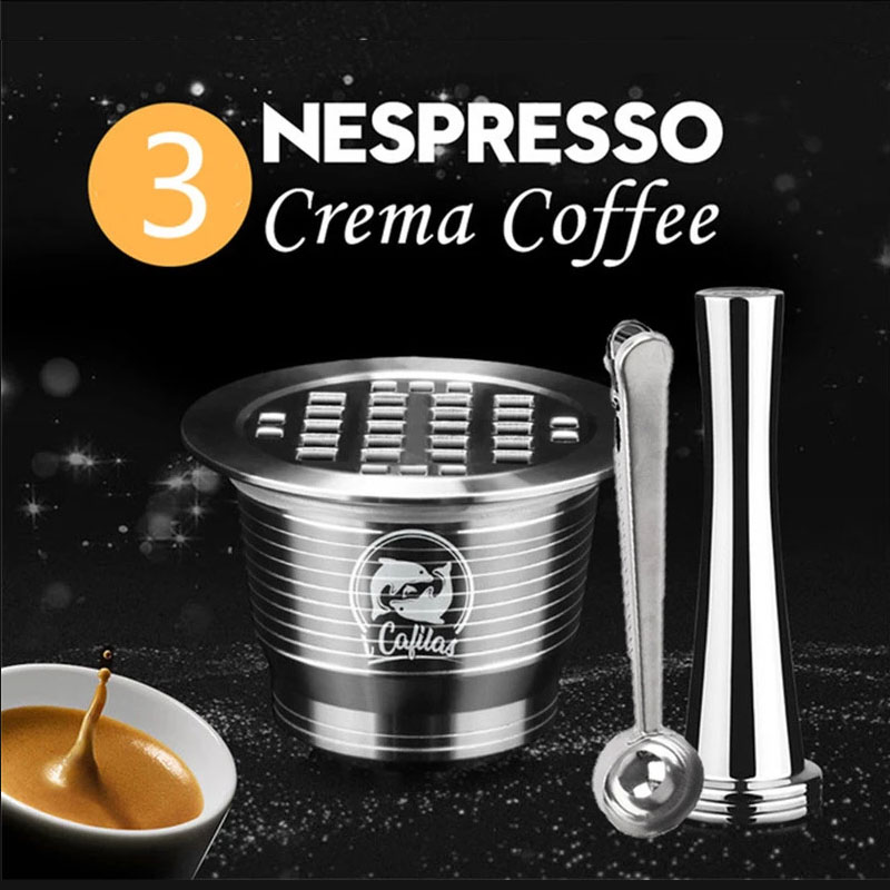 ICafilas Stainless Metal Reusable For Nespresso Capsule Press Coffee Grinds Stainless Tamper Espresso Maker Basket(China)
