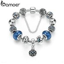 Серебряная цветная змеиная цепь, очаровательные браслеты и браслеты с безопасной цепочкой и стеклянными бусинами, браслет для женщин PA1494