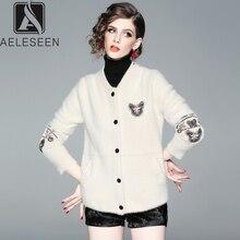 AELESEEN модный кашемировый свитер цвета слоновой кости Женская Роскошная вышивка офисная Дамская Повседневная одежда v-образный вырез элегантный шерстяной жакет