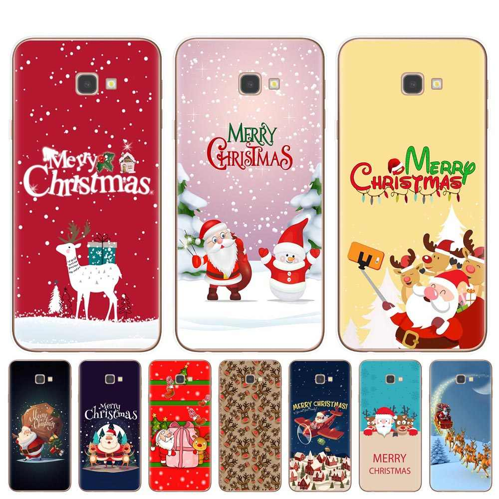 Merry Christmas Phone Case For Coque Samsung Galaxy J3 J5 J7 2016 2017 J4 J6 Plus 2018 Note 10 Pro  Soft TPU Cover Fundas Bags