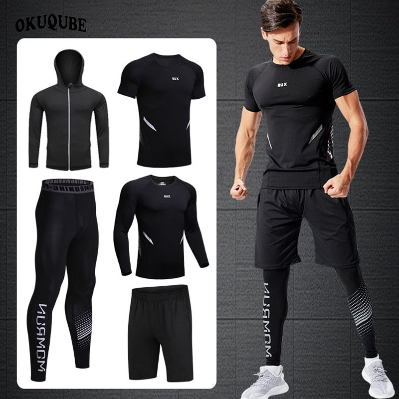 Men Compression Sportswear Hooded Reflective Tracksuit Man Elastic Breathable Gym Clothes Running Jogging Exercise Training Sets