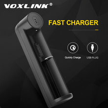 VOXLINK pil şarj cihazı akıllı şarj 1 yuvası USB 18650 26650 18350 32650 21700 26700 26500 Li ion şarj edilebilir pil şarj cihazı