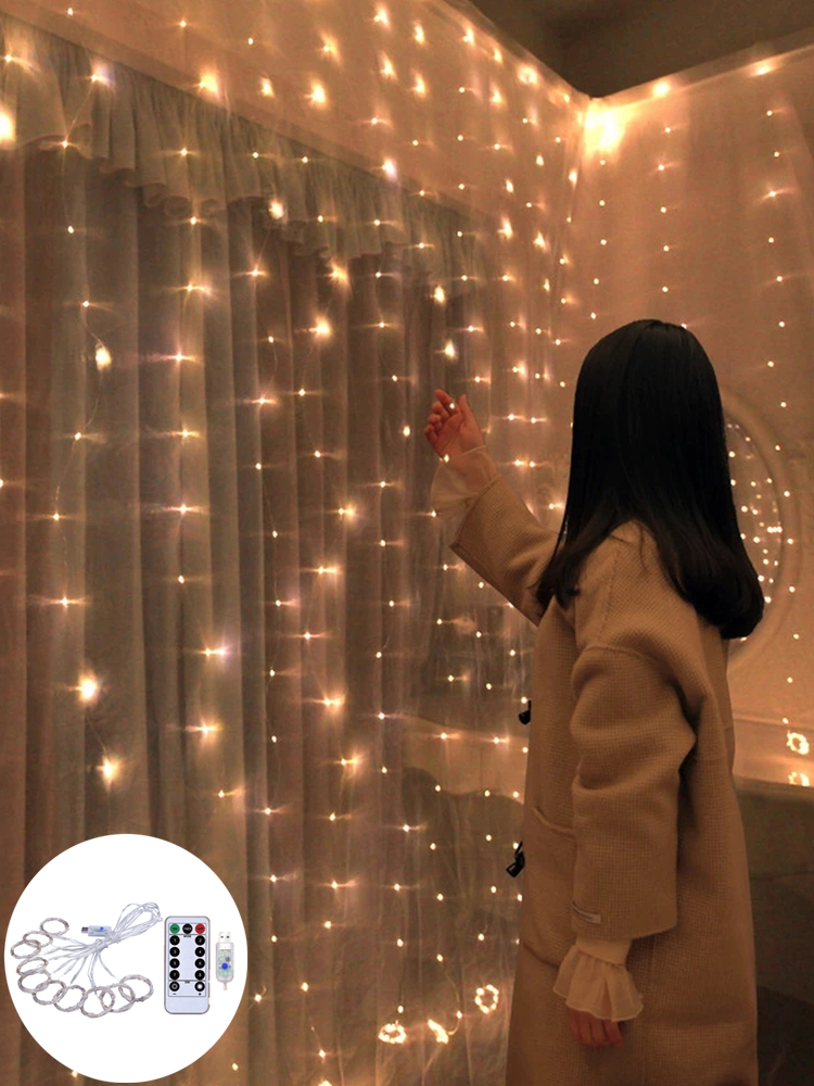 Christmas Decorations for Home 3m 100/200/300 LED Curtain String Light Flash Fairy Garland