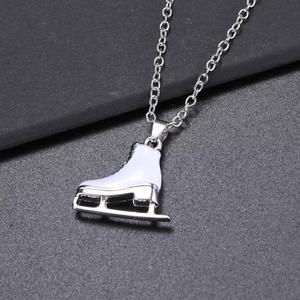 Skyrim Fashion White Enamel Ice Skates Shoes Pendant Necklace Jewelry for Women Classic Long Chain Sweater Necklaces Gift(China)