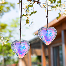 H&D 2pcs 50mm Crystal Aurora Borealis Heart Prism SunCatcher Rainbow Maker Window Hanging Ornaments Car Rear View Mirror Pendant