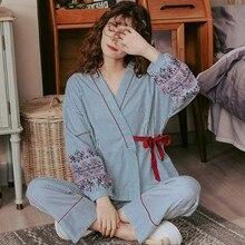 Pijamas de talla grande de manga larga para mujer, traje de rayas de algodón puro fino de 100kg, kimono japonés para primavera y otoño