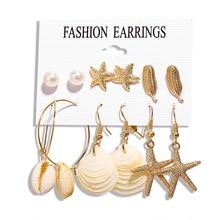 Gold sea shell earrings set  drop jewelry For Women Geometric Drop Pearl Shell Earrings Fashion Jewelry