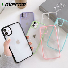 LOVECOM Bumper Shockproof Clear Phone Case For iPhone 11 Pro XR XS Max 7 8 Plus Soft Acrylic Candy Color Back Cover Coque Gift