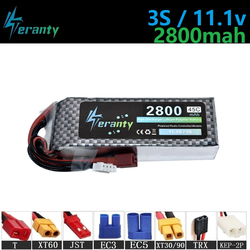 Upgrade 45C 11.1v 2800maH Lipo Batterry For RC Quodcopter Cars Boats Drone Spare Parts 3s 2200mah 11.1v Rechargeable Battery