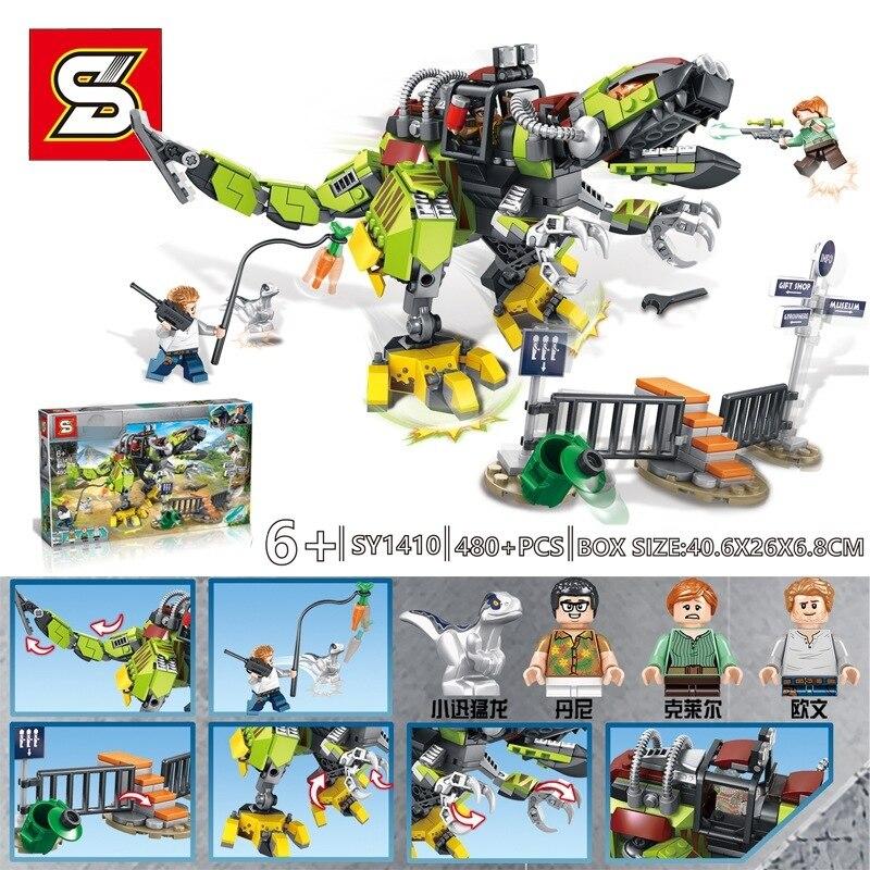 New Jurassic World Dinosaur Park Set Building Blocks Compatible Legoingly Tyrannosaurus Rex Model Bricks Toys For Children Gifts