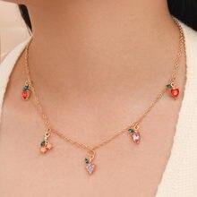 Doce moda feminina cristal maçã cereja uva frutas colar requintado corrente de ouro colar jóias presentes