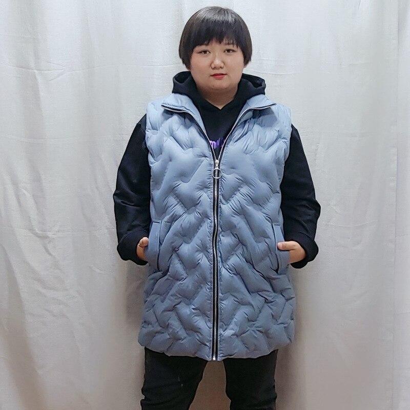Plus Size Women Winter Vest Korean Edition Sleeveless Turn-down Collar Zipper Warm Long Vest Jacket Casual Female Coat Winter