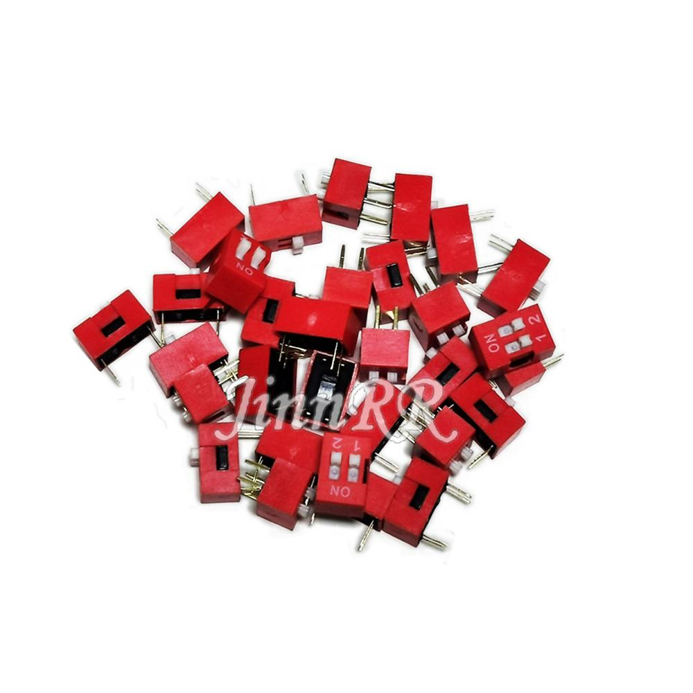 Free Shipping 100pcs 2P <font><b>2</b></font> Position DIP Switch <font><b>2</b></font>.54mm Pitch <font><b>2</b></font> Row <font><b>4</b></font> <font><b>Pin</b></font> DIP Switch Quality assurance Hot sale image