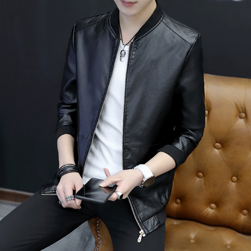 2019 Spring And Autumn New Style Men PU Leather Coat Youth Men's Jacket Korean-style Trend Si Li Kou Slim Fit Stand Collar