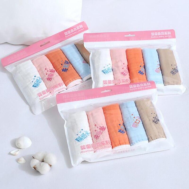 Купить с кэшбэком 5pcs/set Newborn Baby Towels Baby Face Towel Burp Cloths Baby Gauze Bibs Saliva Bib Cotton  30*30cm Washcloths