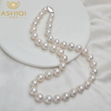 ASHIQI 10 12mm Big Natural Freshwater Pearl Necklace Real 925 Sterling Silver Clasp White Round Pearl Jewelry for Women Gift