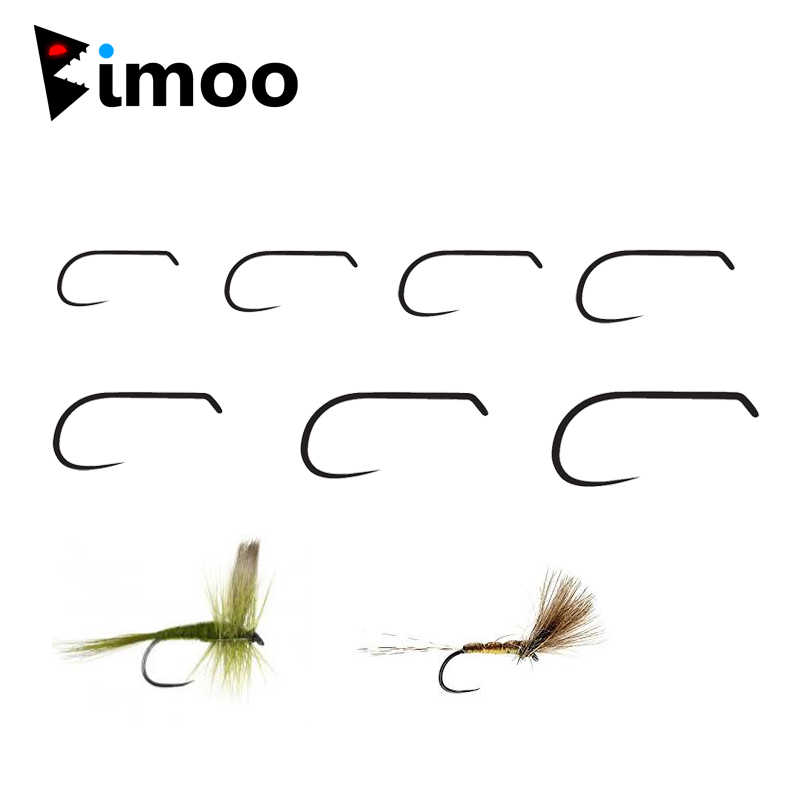 Bimoo 20pcs Barbless Dry Fly Hook 2X Wide Gap Nymph Forged Hook Black Nickel Finish Fly Tying Material Sizes 8 10 12 14 16 18 20