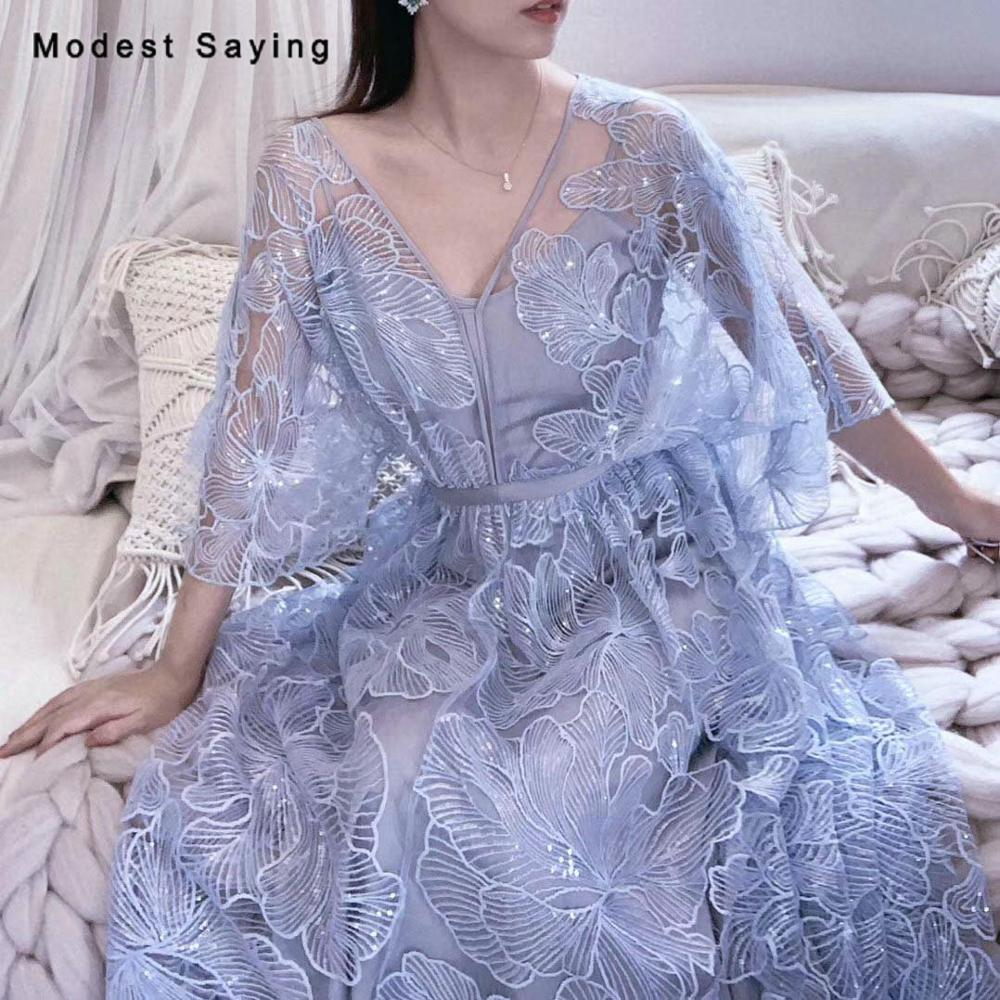 2 Yards Sky Blue Sequined Big Flowers Lace Fabrics For Evening Dress 2019 Embroidered Mesh Party Prom Net Lace Material