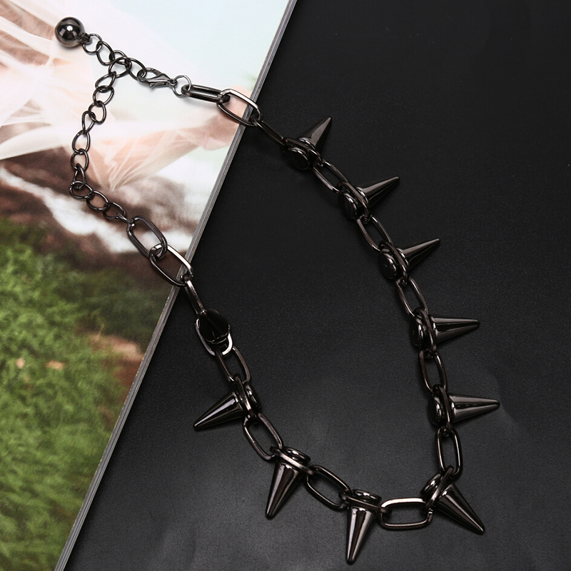 New Rivets Chokers Punk Goth Handmade CCB Material Choker Necklace Spike Rivet Necklace Rock Gothic Chokers