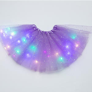 Sequin Tutu-Skirt Dancewear Glitter Magic-Light Tulle Ballet Stars Fluffy Party Girls