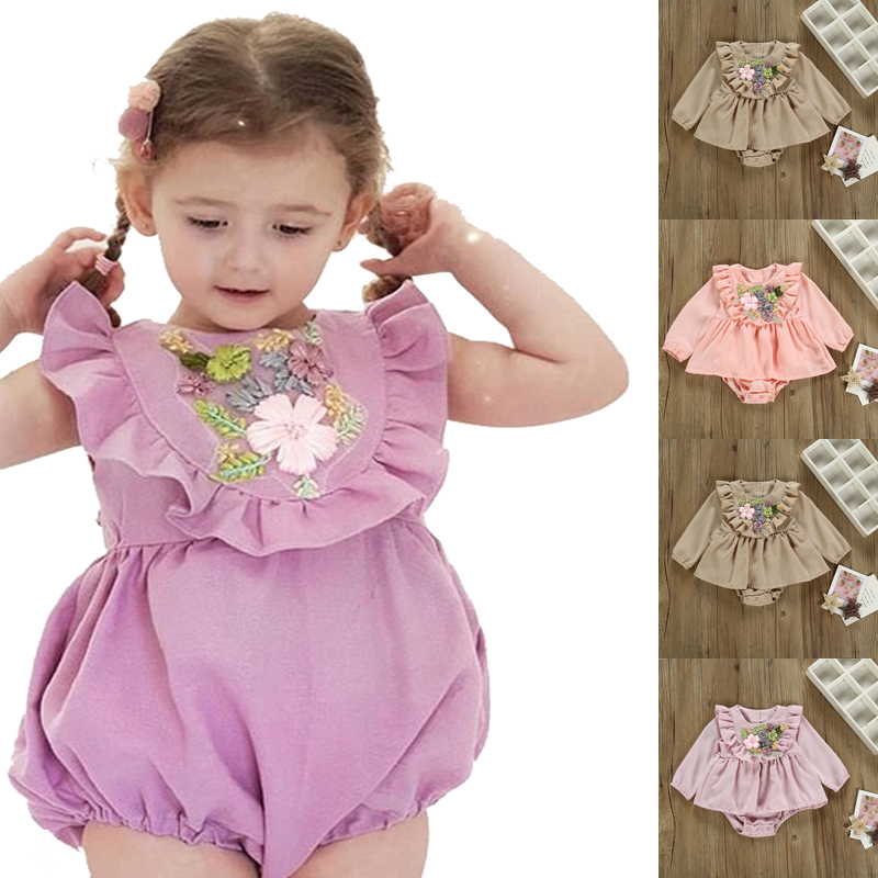 Newborn Romper Ruffles Long Sleeve Baby Girls Jumpsuits Solid  Embroidery Floral Toddler Infant One-pieces Outfits