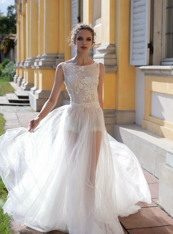 Gorgeous New Beach Wedding Dresses 2020 Scoop Sleeveless A-Line Lace Tulle Bridal Gowns Bride Dresses vestido de noiva