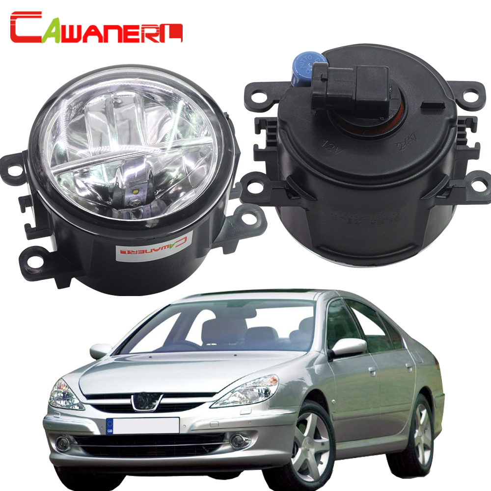 Cawanerl For <font><b>Peugeot</b></font> <font><b>607</b></font> (9D, 9U) Saloon 2000-2006 2 X Car Styling LED Fog Light 4000LM DRL Daytime Running Lamp 6000K White 12V image