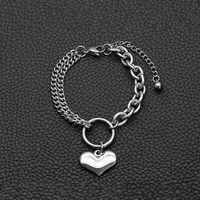 Double Layer Chain Stainless Steel Love Heart Shaped Bracelet Silver Color Titanium Steel Bracelets for Women Jewelry 18+5cm