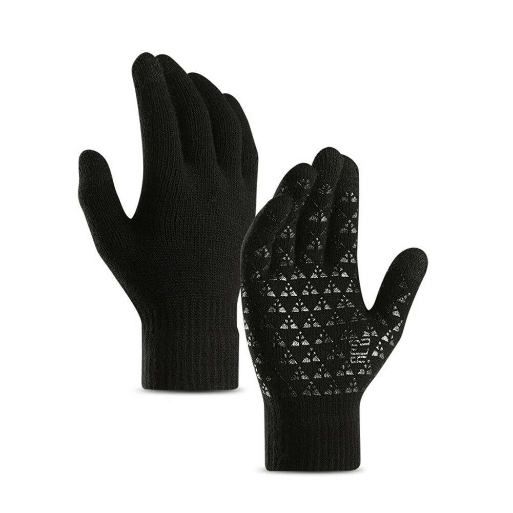 Men Women Touch Screen Winter Warm Kint Full Finger Fleece Lined Thermal Gloves