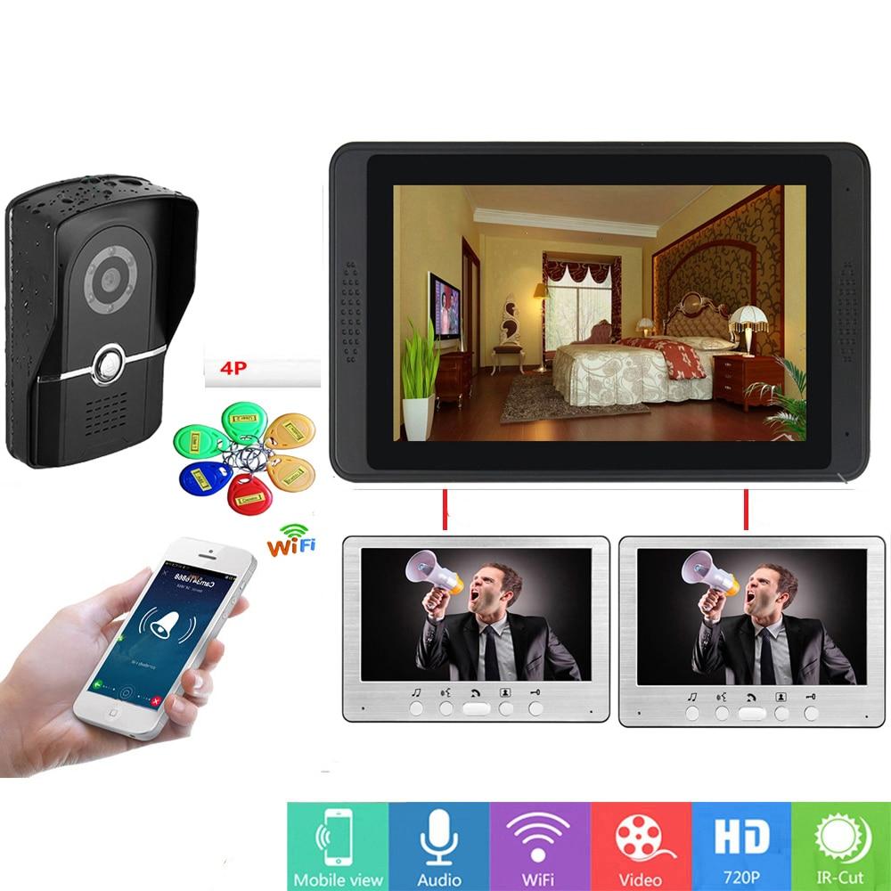 SmartYIBA Wifi Doorbell 3 Monitors Families Villa Door Entry System WIFI Video Doorphone Monitor Intercom RFID Video Door Phone