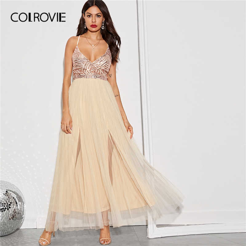 COLROVIE/бежевое контрастное платье с блестками и перекрещивающимися завязками на спине, платье до бедра с разрезом, Женское Платье макси с высокой талией, платье на бретельках 2019, сексуальные платья для вечеринок