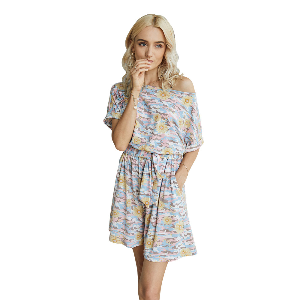 Diiwii Woman Camouflage Short Sleeved Jumpsuit Rumpers For Tie Dye Printed Round Neck Loose Casual Summer Suit
