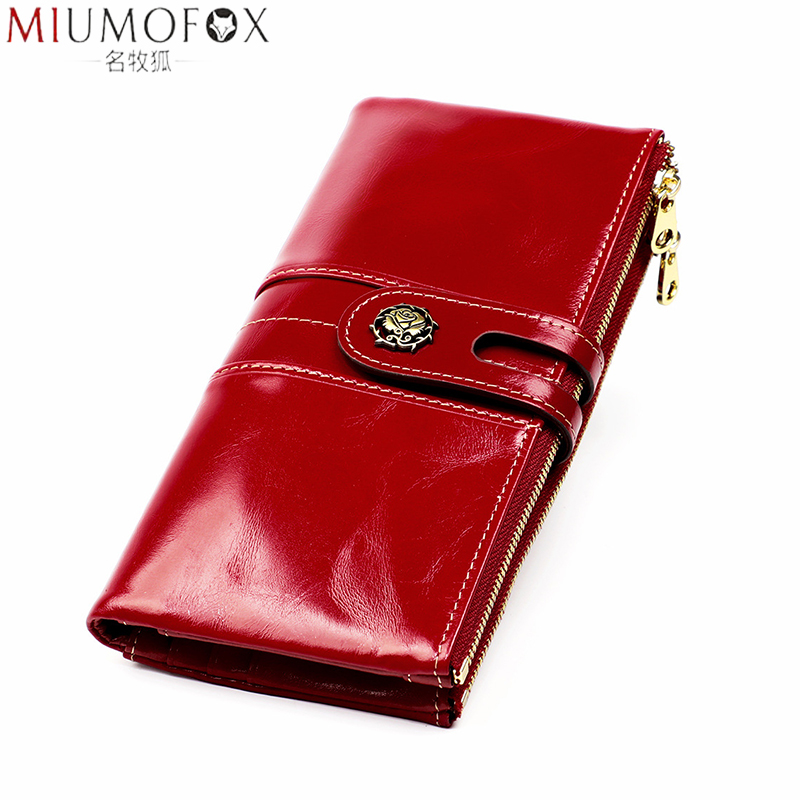New Designer Wallet Women Oil Wax Leather Phone Pocket Wallets Woman Genuine Leather Women's Purses Rfid Card Holder Clutch Bag