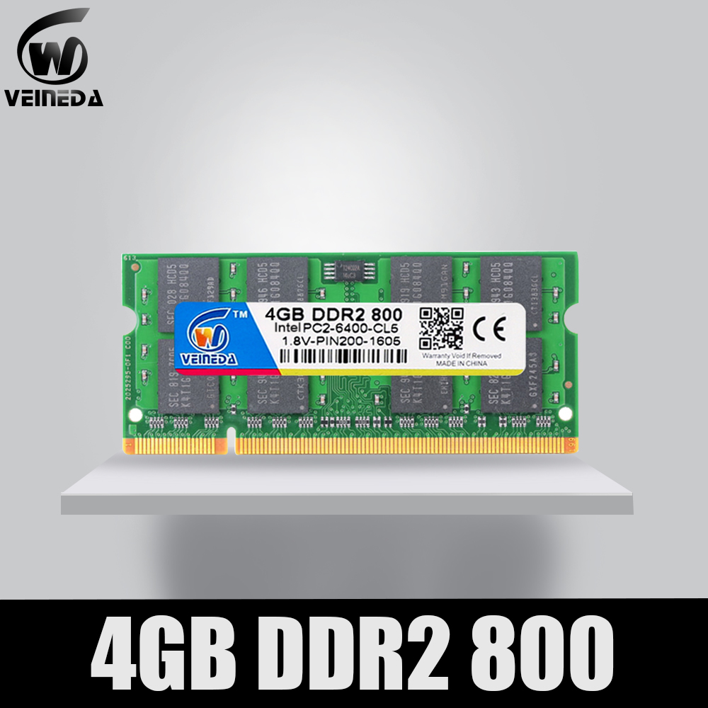 VEINEDA Memoria Ddr2 4gb 2gb 533/667/800Mhz Sodimm Ram 4 Gb Ddr 2 PC2-6400 Notebook For Intel Amd Mobo