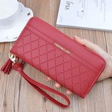 New wallet women  long leather Korean large-capacity tassel zipper check coin purse clutch mobile phone bag