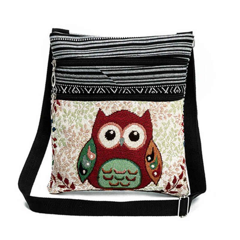女性ガールショルダーバッグメッセンジャー財布フクロウサッチェルトートクロスボディ国家フクロウ鞍旅行バッグ