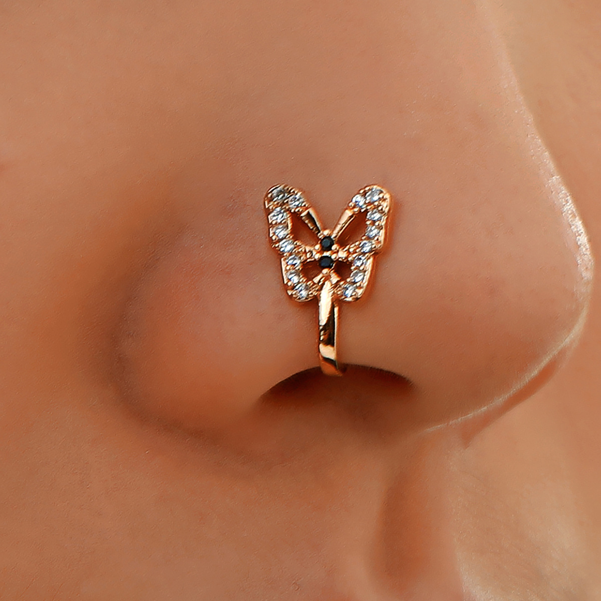 1Pc Crystal Butterfly Fake Nose Ring Non Piercing Clip On Nose Ring Indian Style Nose Cuff Fake Piercing Septum Nariz Jewelry