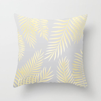 Gold Grey Tropical Cushion Cover