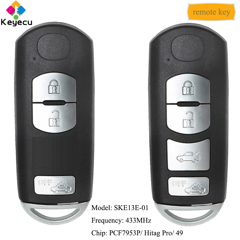 KEYECU умный дистанционный ключ для автомобиля с 3 4 кнопки 433 МГц 49 чип брелок для Mazda (Mitsubishi Системы) 6 3 MX 5 CX 3 CX 5 CX 7 SKE13E 01