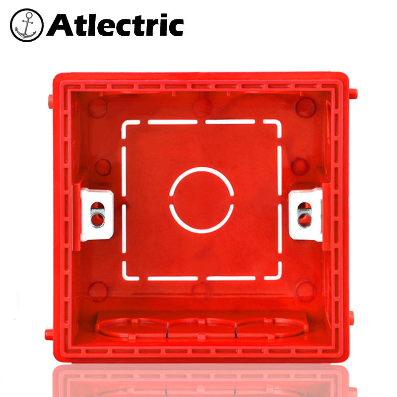 Atlectric Wall Cassette Mounting Box Switch Socket Junction Box 86 Type White Red Blue Hidden Installation Box Wiring Back EU UK