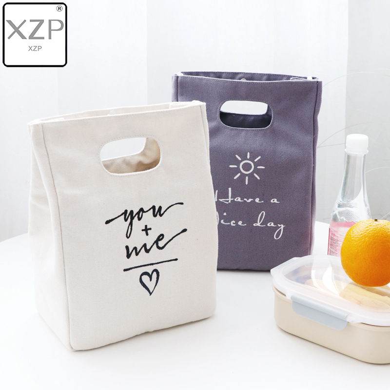 XZP Simple Canvas Lunch Bag Portable Meal Letter Cotton Linen Food Tote Pouch Bento Lunch Large Capacity Bag Storage Bags