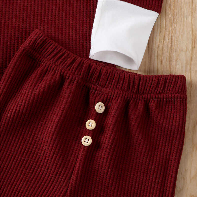Newborn Baby Boy Girl Knitted Solid Color T-Shirt Trousers Leggings Clothes