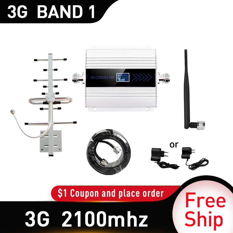 3G WCDMA Band1 2100 Signal Booster 65dB Gain 3G UMTS 2100mhz Mobile Cellular Signal Repeater Amplifier Gsm 3G Amplifi Antenna