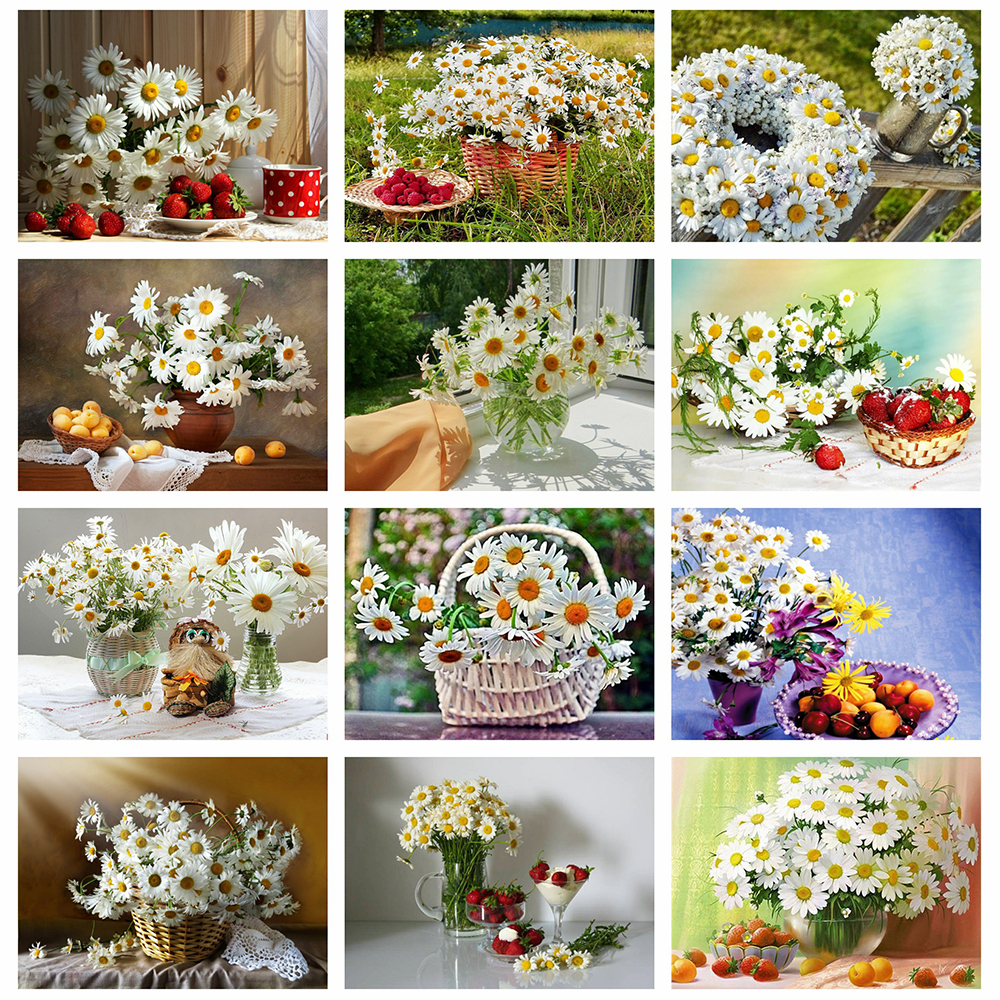 Evershine Diamond Painting Flowers Rhinestone Mosaic Diamond Embroidery Daisy Flower Cross Stitch Mosaic Diamond Home Decoration-2