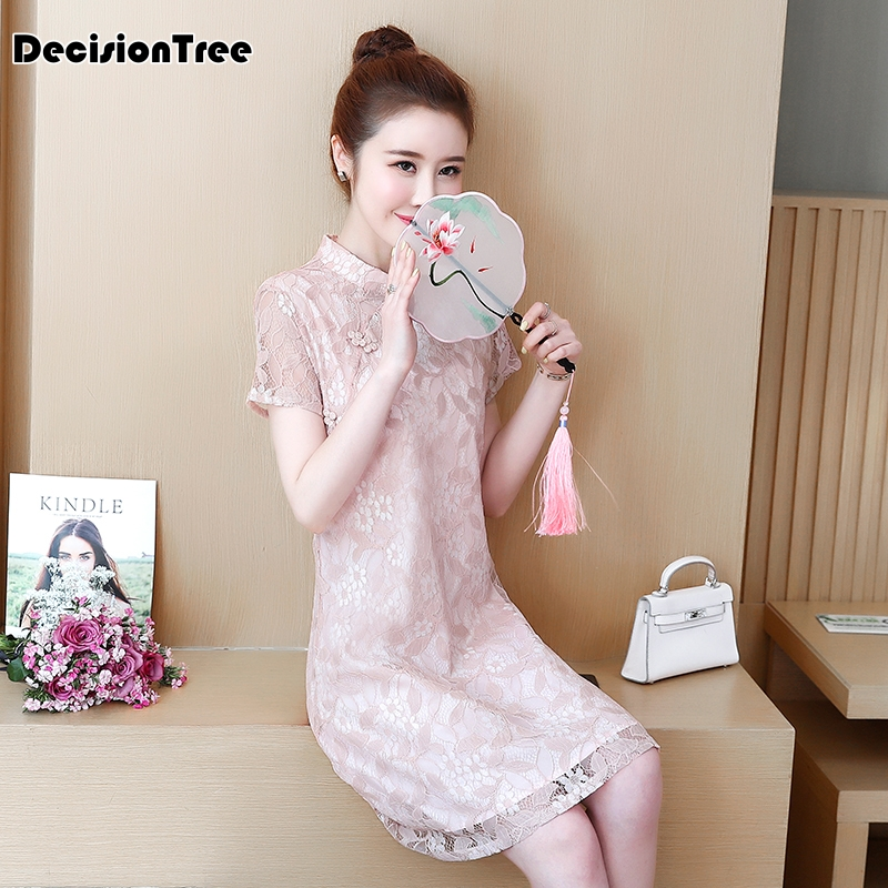 2020 Chinese Traditional Wedding Party Cheongsam Oriental  Womens Elegant Qipao Sexy Lace Short Embroidery Qipao