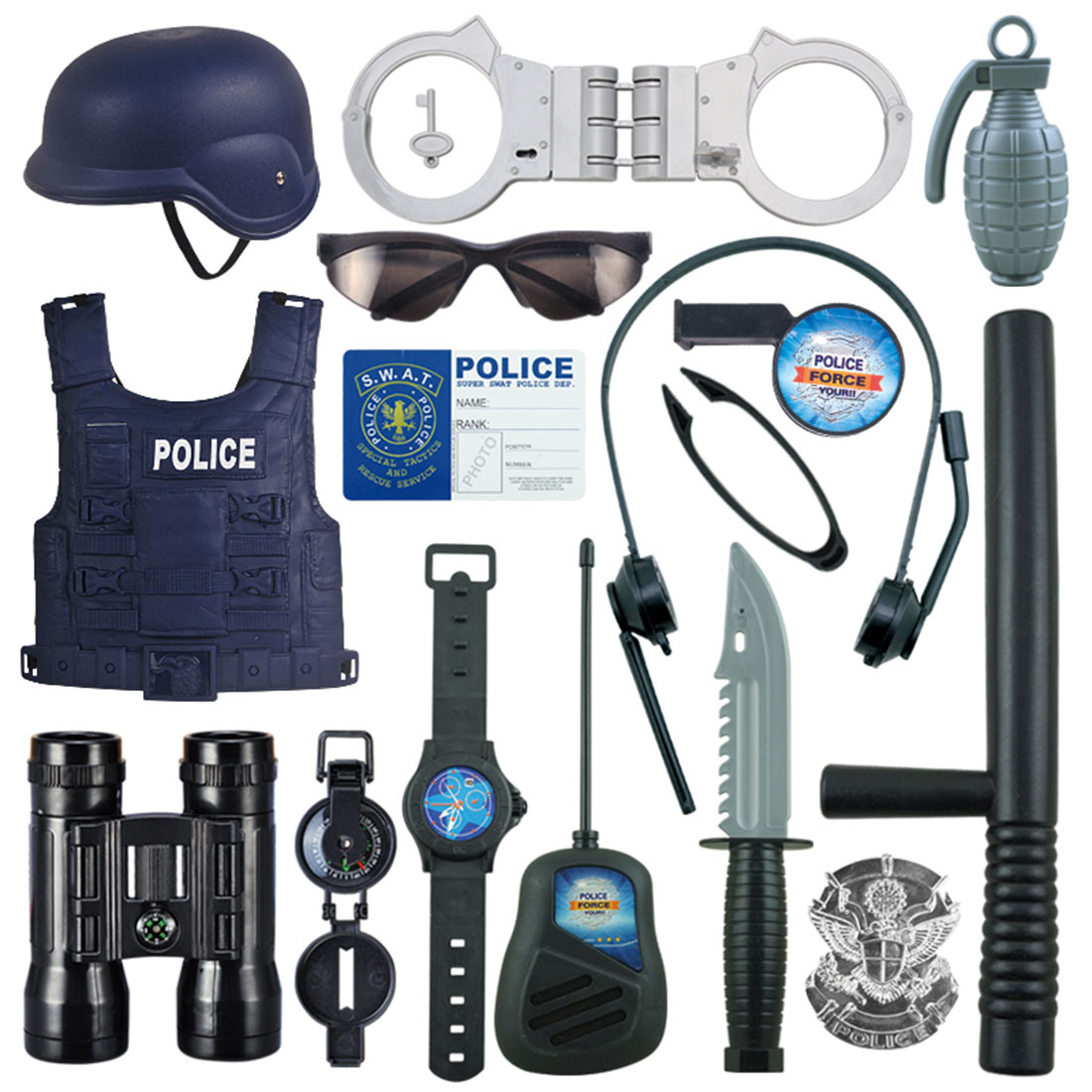NFSTRIKE 16Pcs Children Pretend Play Police Officer Props Police Role Play Kit Cop Toy Set Handcuffs Child Police Costume Game